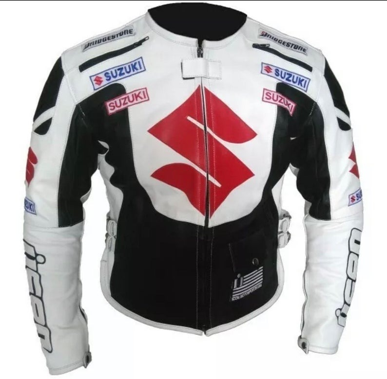 Suzuki Motorcycle White Leather Jacket Mens Product to Shop Online
