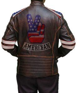 American Flag Brown Leather Jacket