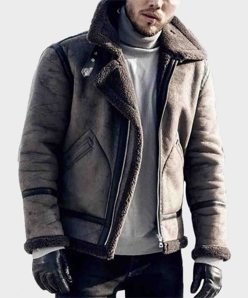 Distressed Mens B3 Shearling Leather Jacket