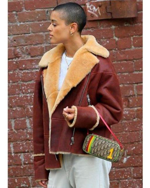 Gossip Girl 2021 Jordan Alexander Brown Shearling Jacket