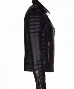 Till Death Mens Lambskin Leather Motorcycle Black Jacket Side View