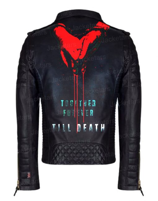 Till death 2021 Poster Black Leather Jacket having Blooded Hand in Hand