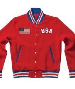 United States Red Letterman Varsity Bomber Jacket
