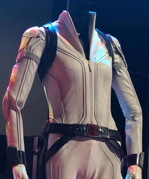 Black Widow 2021 White Leather Jacket