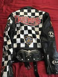 Triumph Cafe Racer Club 59 leather jacket For men and women. Having Chess Pattern on sleeve and back with Triumph Patch