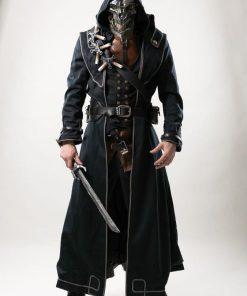 Corvo Attano Dishonored Leather Hoodie Coat
