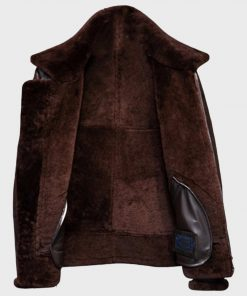 Distressed B3 Mens Brown Shearling Leather Jacket