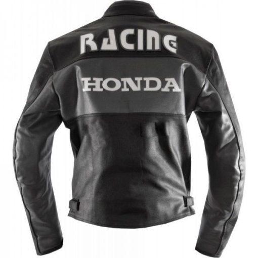 Honda Motorbike Cowhide Black Real Leather Jacket