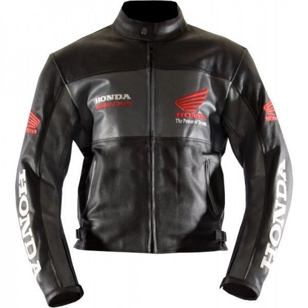 Honda Motorbike Cowhide Black Real Leather Jacket On Sale