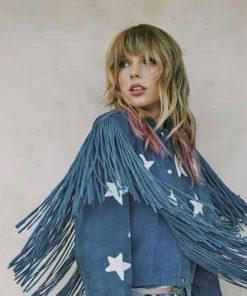 Taylor Swift Blue Fringe Jacket