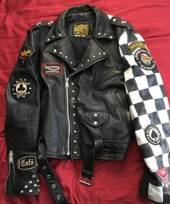 Triumph Cafe Racer Club 59 leather jacket For men and women. Having Chess Pattern on sleeve