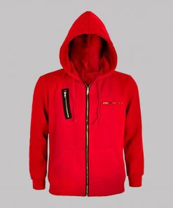 SPECIFICATION: Material: Fleece Inner: Viscose Lining Closure: Front Zipper Closure Collar: Hooded Collar Cuffs: Rib-knit Cuffs Color: Red