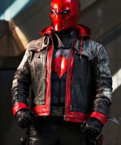 Arkham Knight Red Leather Hooded Jacket