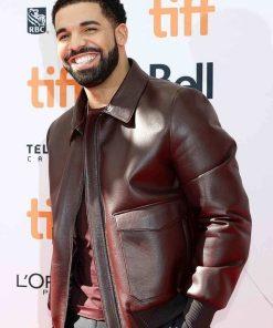 Drake Burgundy Bomber Leather Jacket