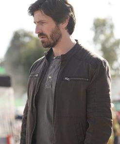 Eoin Macken in La Brea (2021) Brown Leather Jacket