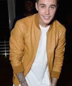 Justin Bieber Men's Bomber Leather Jacket