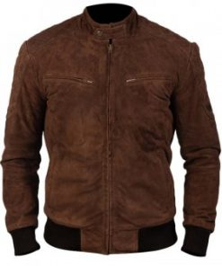 Mens Brown Bomber Suede Leather Jacket