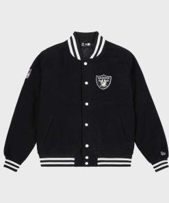 Mens Raiders Black Varsity Jacket