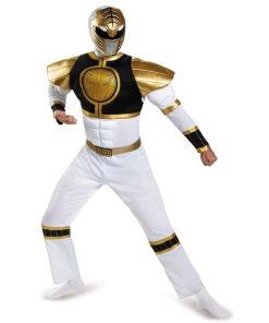 Mighty Morphin Power Ranger Halloween White Adult Costume