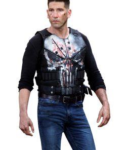 Frank Castle The Punisher Black Men Tactical Black Biker Leather Vest