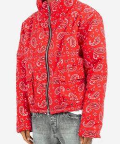 Red Bandana Puffer Jacket
