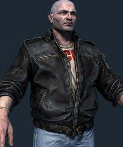 S.T.A.L.K.E.R. 2 Black Leather Trader Bomber Jacket