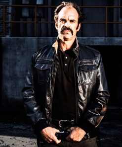 Steven Ogg Simon The Walking Dead Black Leather Bomber Jacket