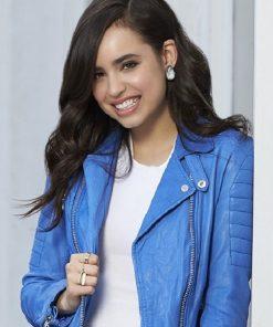 Sofia Carson Biker Blue Leather Jacket