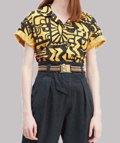 Stranger Things Yellow and Black Aztec Shirt