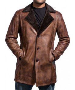 Hugh Jackman The Wolverine Logan Shearling Leather Coat