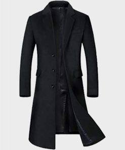Winter Mens Black Gentlemen Trench Coat