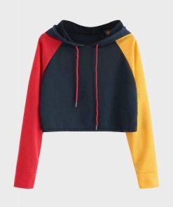 Womens Colorblock Crop Pullover Hoodie