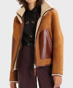 Womens Shearling Collar Brown Suede Leather Jacket