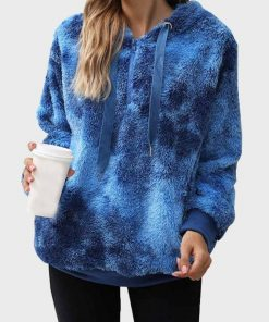Womens Tie Dye Sherpa Oversized Fluffy Blue Fur Hoodie