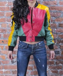 8 Ball Pool Logo Multi-color Leather Bomber Jacket For Women's