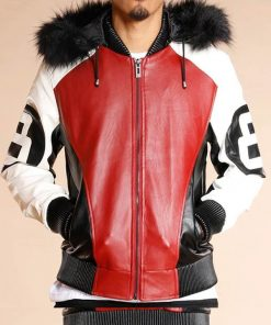 8 Ball Logo Black and Red Leather Shearling Hooded Bomber Jacket