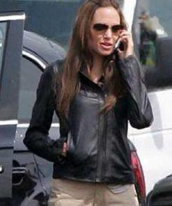 Angelina Jolie Black Real Leather Jacket