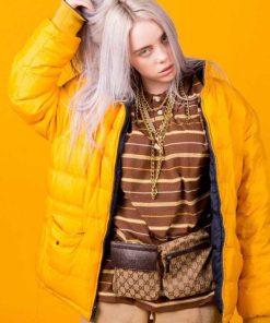 American Singer Billie Eilish Yellow Puffer Jacket