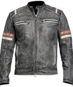 Cafe Racer Retro Vintage Grey Distressed Leather Jacket