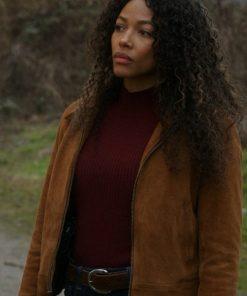 Cassie Dewell Big Sky Kylie Bunbury Brown Suede Leather Bomber Jacket