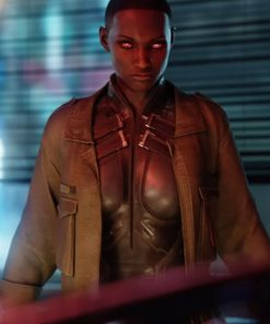 Cyberpunk 2077 T-Bug Brown Leather Jacket