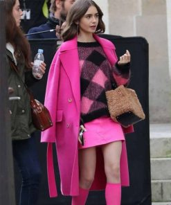 Lilly Collins Emily In Paris S01 Emily Cooper Pink Wool Coat
