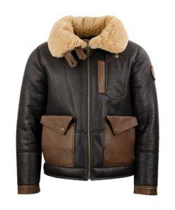 Men's Aviator Black Chocolate Sheepskin Bomber Leather Jacket