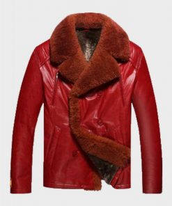 Mens Shearling Red Leather Jacket