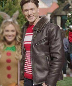 Sawyer Larsen A Very Charming Christmas Town Jon Prescott Brown Leather Jacket