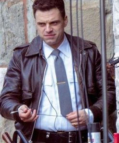 Sebastian Stan The Devil All the Time Lee Bodecker Brown Real Leather Jacket