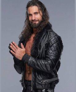 Seth Rollins WWE Shearling Collar Black Leather Jacket