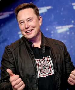 Tesla Event CEO Of SpaceX Elon Musk Black Leather Jacket
