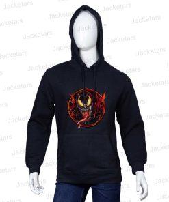 Venom Red Monster Printed Black Hoodie
