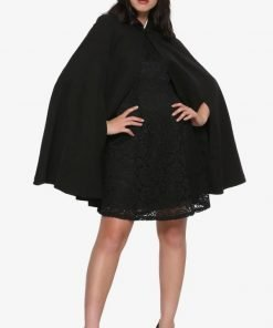 Riverdale Veronica Lodge Black Wool Hooded Cloak For Women's